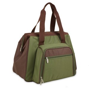 Toluca Picnic Cooler Tote, (Pine Green with Tan Trim)