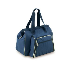 Toluca Picnic Cooler Tote, (Navy with Tan Trim)