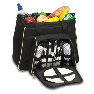 Toluca Picnic Cooler Tote, (Black with Tan Trim)