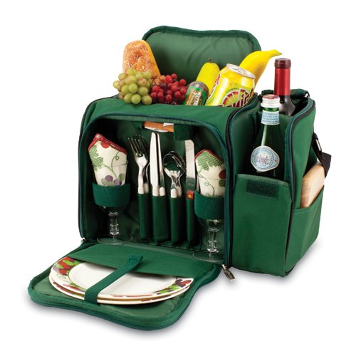Malibu Picnic Backpack with Wine Compartment - Hunter Green Picnic Backpack