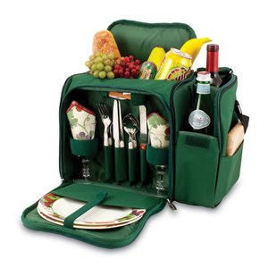 Malibu Picnic Backpack with Wine Compartment - Hunter Green