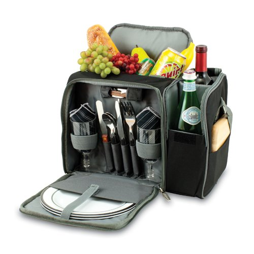 Malibu Picnic Cooler Tote, (Black with Silver Grey) Picnic Backpack