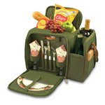 Malibu Picnic Backpack with Wine Compartment -Pine  Green