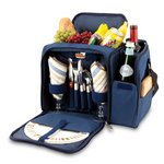 Malibu Picnic Cooler Tote, (Navy with Blue & Grey Stripe) Picnic Backpack