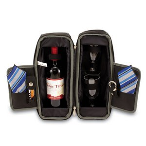 Estate Wine Tote, (Black & Grey with Blue Stripes)