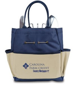 Garden Tote with Tools, (Navy with Beige)