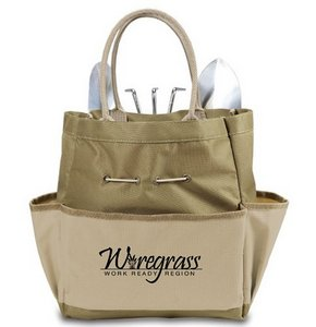 Garden Tote with Tools, (Khaki Green with Beige)