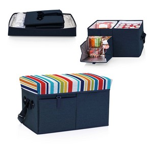 Ottoman Cooler & Seat, (Navy with Fun Stripe Print)