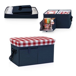 Ottoman Cooler & Seat, (Navy with Red Gingham Print)