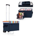 Ottoman Cooler & Seat with Trolley, (Navy with Fun Stripe Print)