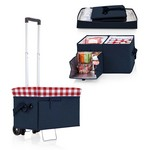 Ottoman Cooler & Seat with Trolley, (Navy with Red Gingham Print)