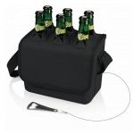Six-Pack Soft Sided Beverage Tote Removable Dividers - Black