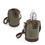 Insulated Growler Khaki Green & Brown Tote with 64-oz. Stainless