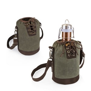 Insulated Growler Khaki Green & Brown Tote with 64-oz. Copper Sta