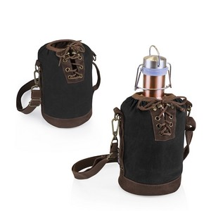 Insulated Black & Brown Growler Tote with 64-oz. Copper Stainless