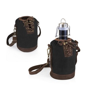 Insulated Black & Brown Growler Tote with 64-oz. Matte Black Stai