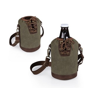 Insulated Growler Khaki Green & Brown Tote with 64-oz. Amber Glas