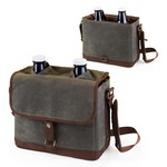 Insulated Double Growler Tote with 64-oz. Glass Growlers, (Waxed