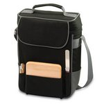 Duet-Black W/ Gray Trim - Dlx 2 Bottle Wine &Cheese Tote