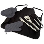 BBQ Apron Tote Pro Black with brushed steel barbecue tools