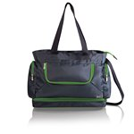 Beach Tote- grey with lime interior