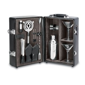 'Manhattan' Portable Cocktail Case, (Black with Green)