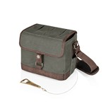 Beer Caddy Cooler Tote with Opener, (Khaki Green & Brown)