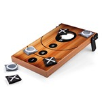 Mini Bean Bag Throw Game, (Wood Grain with Bean Bag Toss & Tic