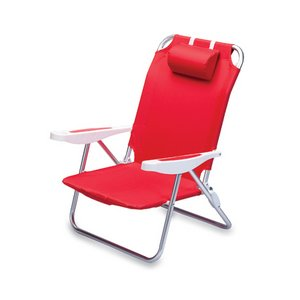Monaco Reclining Beach Backpack Chair, (Red)