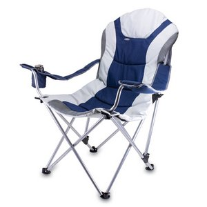 Reclining Camp Chair Navy and Silver Grey