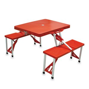 Picnic Table Sport Portable Folding Table with Seats, (Red with