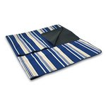 Fleece Blanket Tote with Water Resistant Backing - Blue Stripe