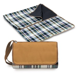Blanket Tote Outdoor Picnic Blanket, (English Plaid & Camel wit