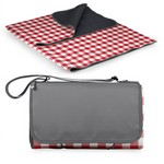 Blanket Tote Outdoor Picnic Blanket, (Red Check & Navy with Bla