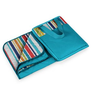 Vista Outdoor Blanket Tote, (Aqua Blue with Fun Stripes)