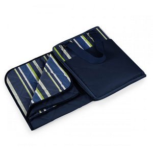 Vista Outdoor Blanket-Navy Blue with blue and lime stripe print