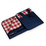 Vista Outdoor Blanket Tote, (Navy with Red Check)