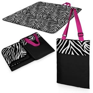 Vista Outdoor Blanket Tote, (Black with Zebra Print)