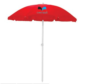 Beach Umbrella with Matching Drawstring Bag  5.5 Feet - Red
