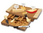 Concavo-bamboo cutting board with cheese tools and markers