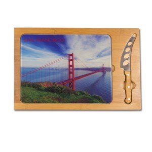Icon Glass Top Serving Tray & Knife Set, (San Francisco Design)