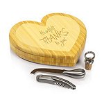 Heart Cutting Board w/ wine and cheese tools