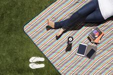 Vista XL Outdoor Blanket Tote, (Aqua Blue with Fun Stripes)