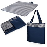 Vista XL Outdoor Blanket Tote, (Navy with Moroccan Print)