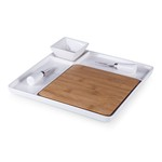 Peninsula- Cutting Board Serving Tray with Cheese Tools (Plain Wh