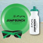 Water Bottle, Flying Disc and Promotional Sunglasses Beach Kit