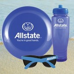 Translucent Blue Water Bottle, Flying Disc Sunglasses Beach Kit