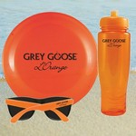 Translucent Orange Water Bottle, Flying Disc and Sunglasses Kit