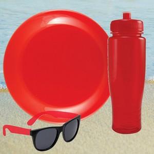 Translucent Red Water Bottle, Flying Disc, Sunglasses Beach Kit