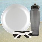 Translucent Gray Water Bottle, Flying Disc & Sunglasses Beach Kit